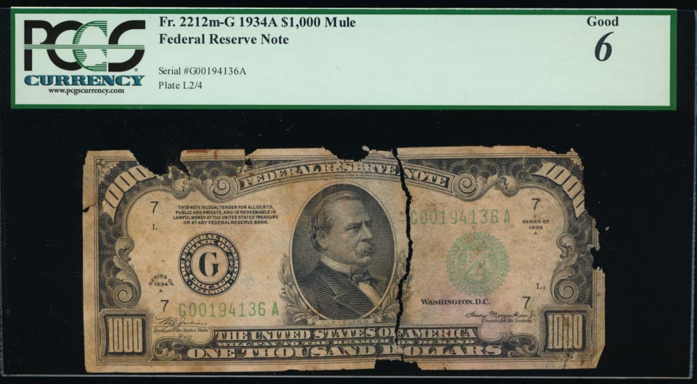 Fr. 2212-G 1934A $1,000  Federal Reserve Note Chicago PCGS 6 comment G00194136A