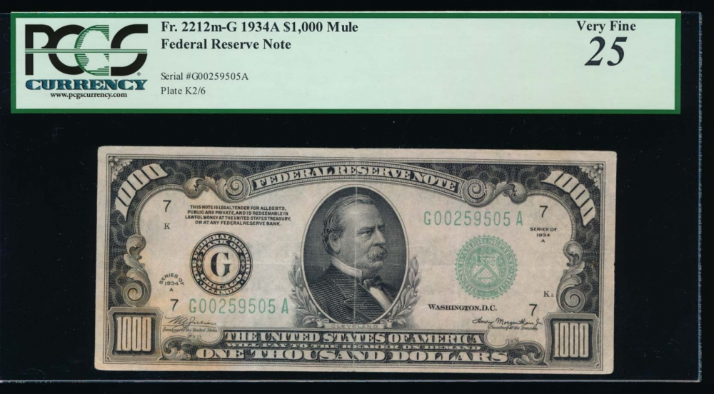 Fr. 2212-G 1934A $1,000  Federal Reserve Note Chicago PCGS 25 comment G00259505A