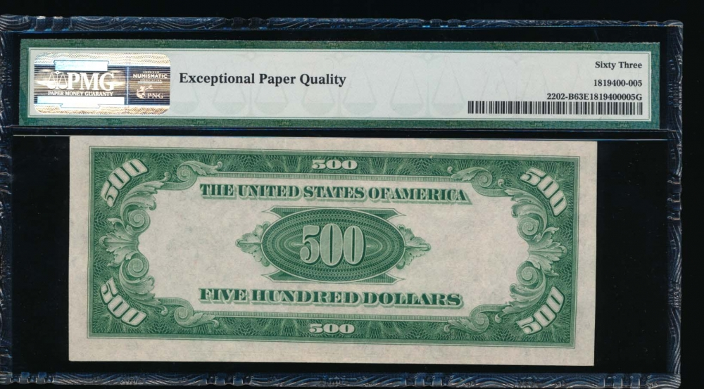 Fr. 2202-B 1934A $500  Federal Reserve Note New York PMG 63EPQ B00394859A reverse