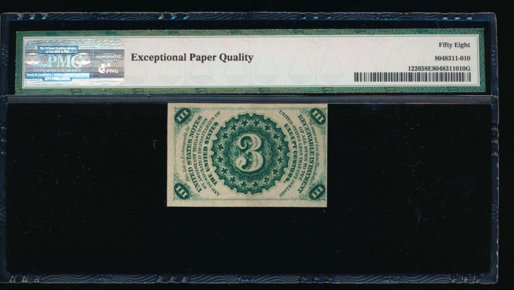 Fr. 1226  $0.03  Fractional Third Issue: Light Background PMG 58EPQ no serial number reverse