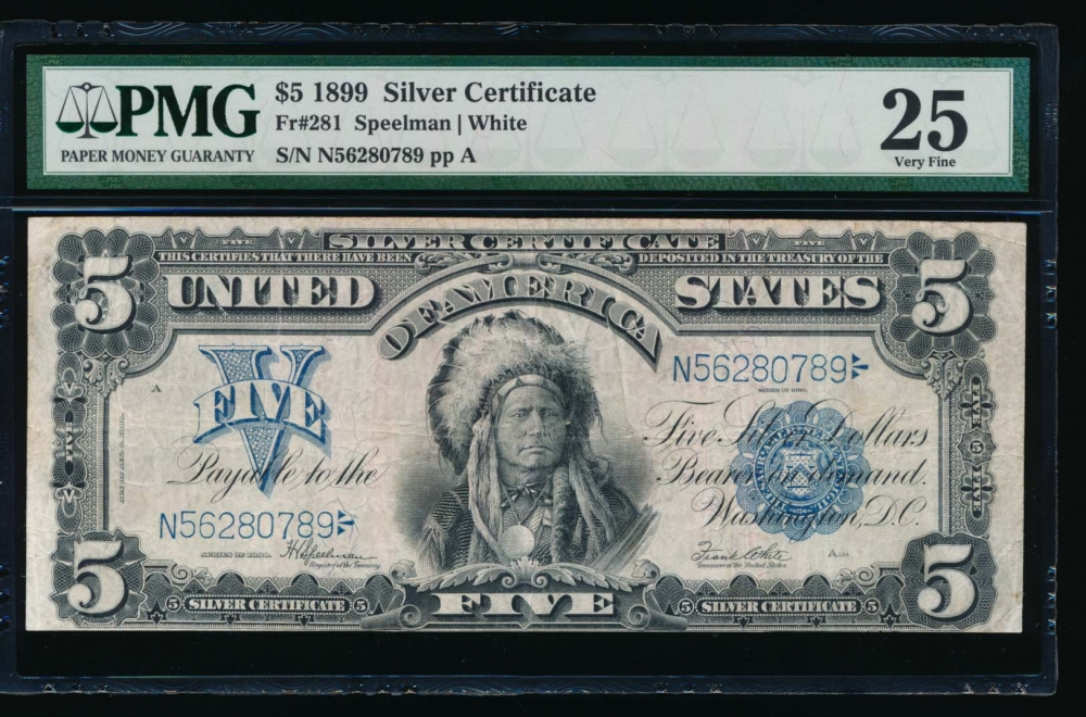 Fr. 281 1899 $5  Silver Certificate  PMG 25 N56280789 obverse