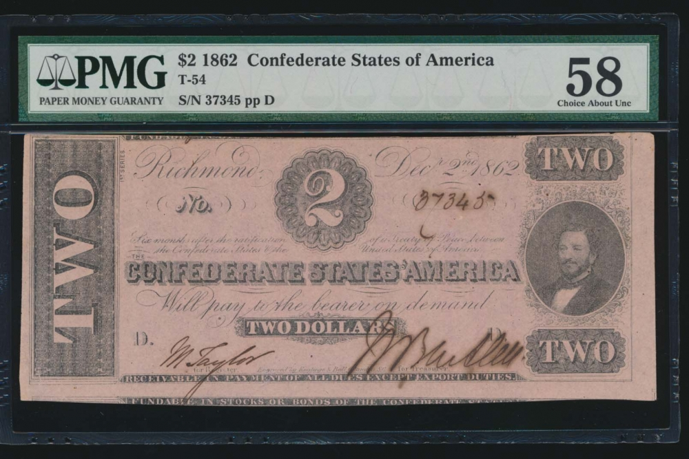 Fr. T-54 1862 $2  Confederate  PMG 58 comment 37345