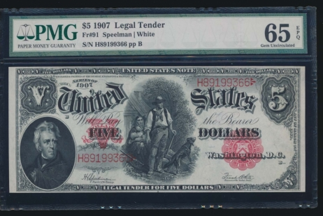 Fr. 91 1907 $5  Legal Tender  PMG 65EPQ H89199366