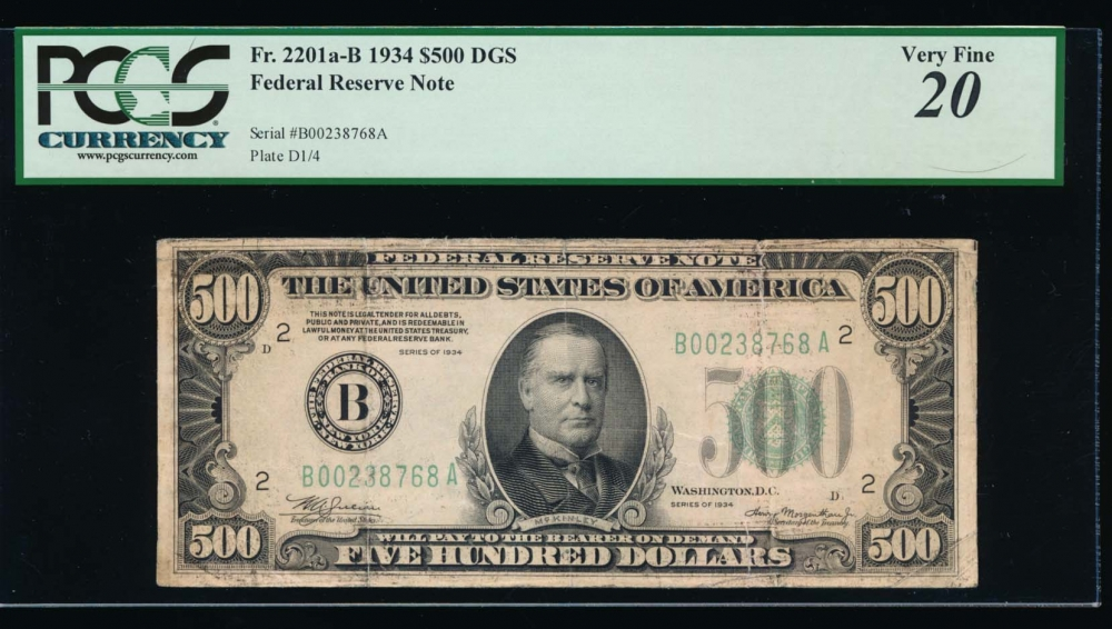 Fr. 2201-B 1934 $500  Federal Reserve Note New York PCGS 20 comment B00238768A