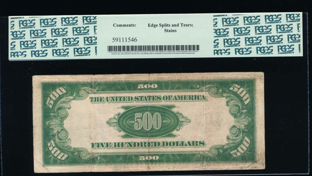 Fr. 2201-B 1934 $500  Federal Reserve Note New York PCGS 20 comment B00238768A reverse