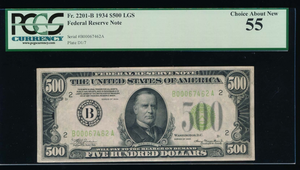Fr. 2201-B 1934 $500  Federal Reserve Note New York LGS PCGS 55 B00067462A obverse