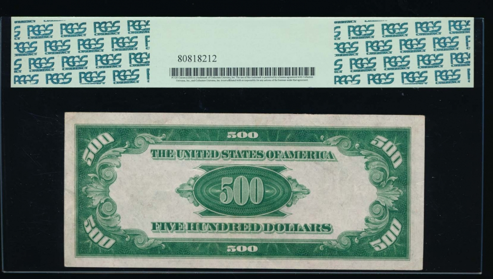 Fr. 2201-B 1934 $500  Federal Reserve Note New York LGS PCGS 55 B00067462A reverse