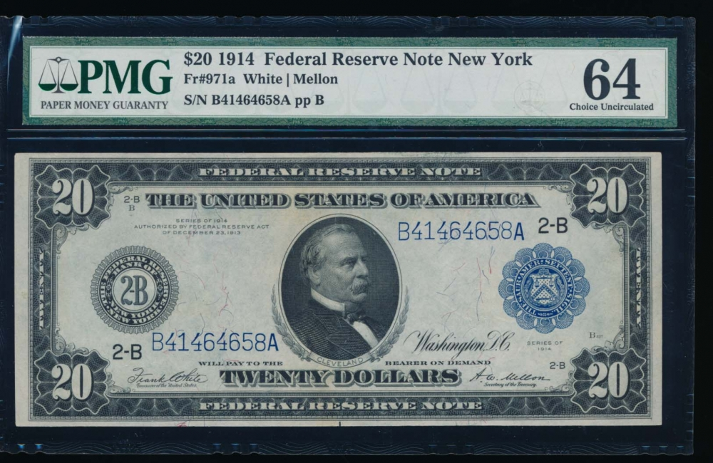 Fr. 971a 1914 $20  Federal Reserve Note New York PMG 64 B41464658A