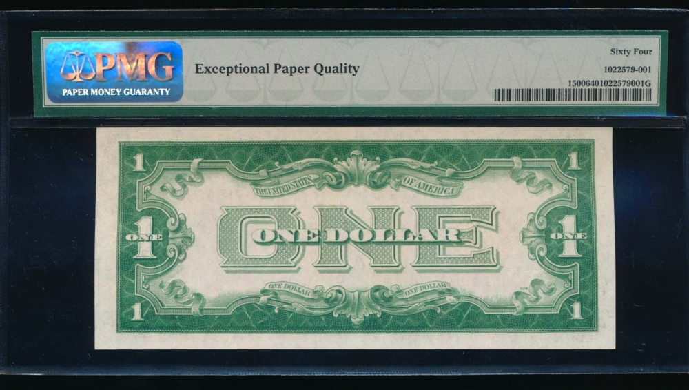 Fr. 1500 1928 $1  Legal Tender low serial number PMG 64EPQ A00001506A reverse