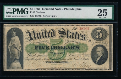 Fr. 2 1861 $5  Demand Note Philadelphia PMG 25 38703