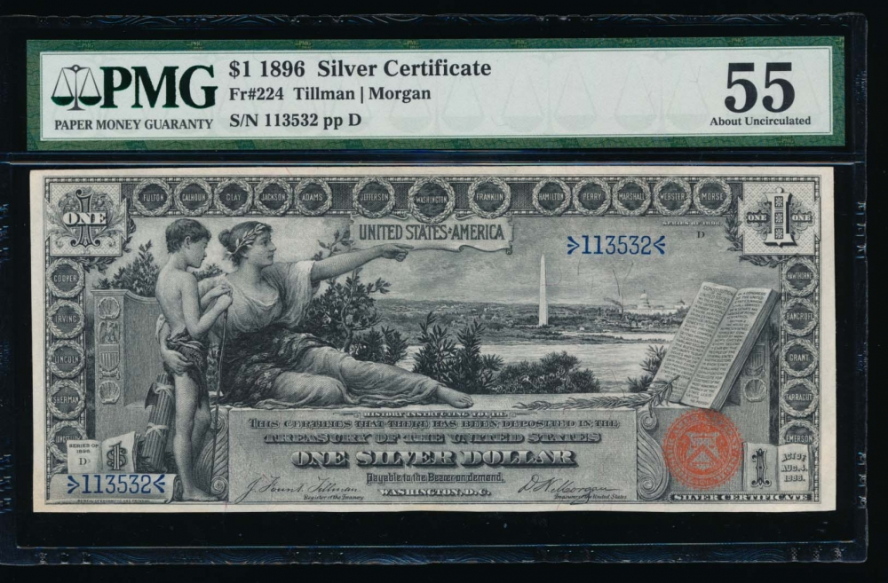 Fr. 224 1896 $1  Silver Certificate  PMG 55 comment 113532