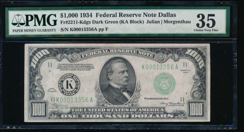 Fr. 2211-K 1934 $1,000  Federal Reserve Note Dallas PMG 35 K00013356A