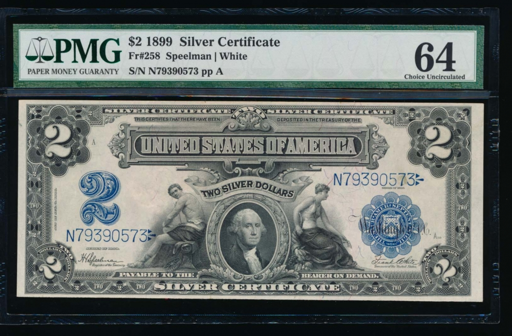 Fr. 258 1899 $2  Silver Certificate  PMG 64 N79390573 obverse