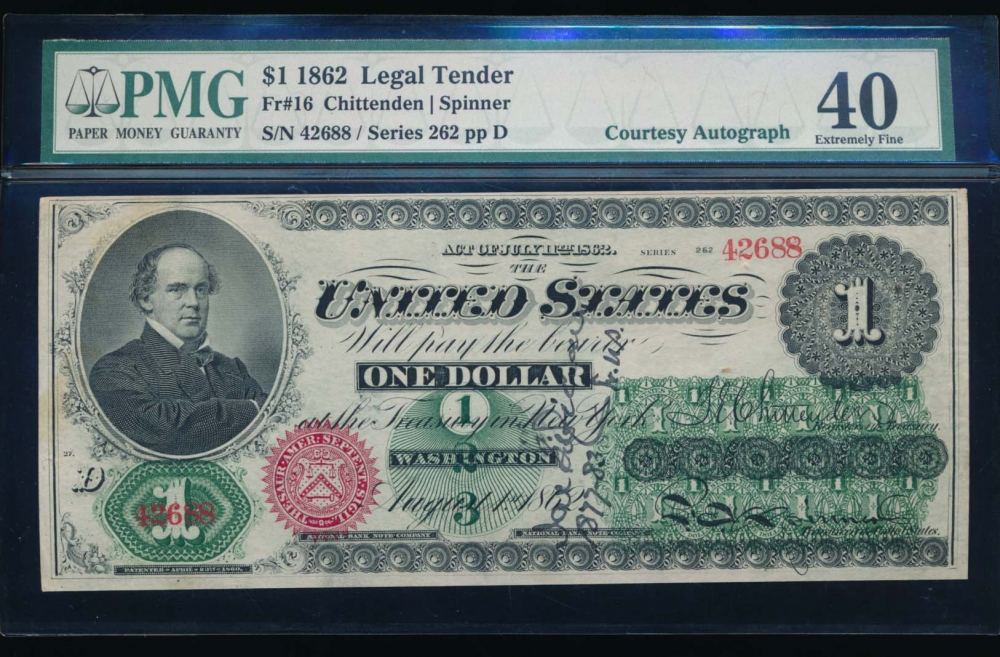 Fr. 16 1862 $1  Legal Tender courtesy autograph PMG 40 262-42688