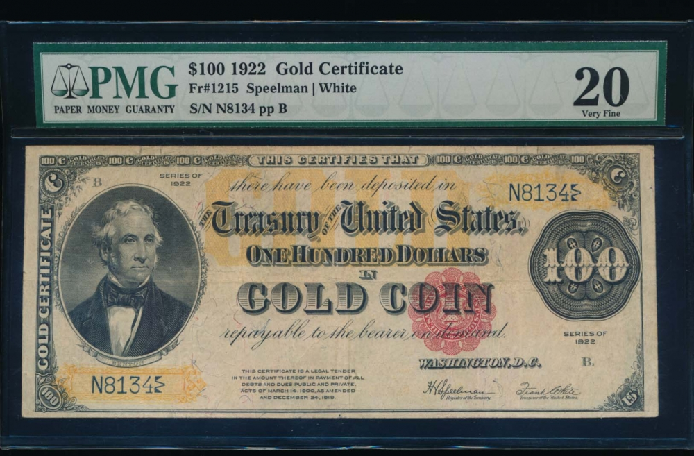 Fr. 1215 1922 $100  Gold Certificate  PMG 20 comment N8134