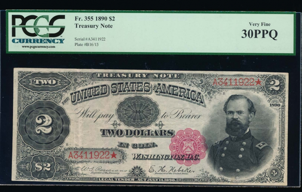 Fr. 355 1890 $2  Treasury Note  PCGS 30PPQ A3411922*