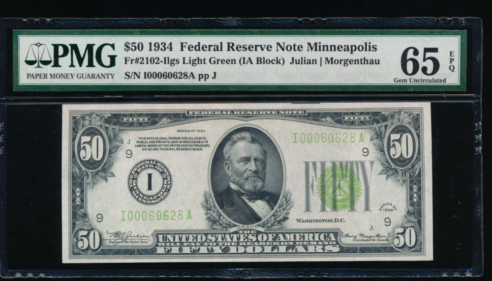 Fr. 2102-I 1934 $50  Federal Reserve Note Minneapolis LGS PMG 65EPQ I00060628A
