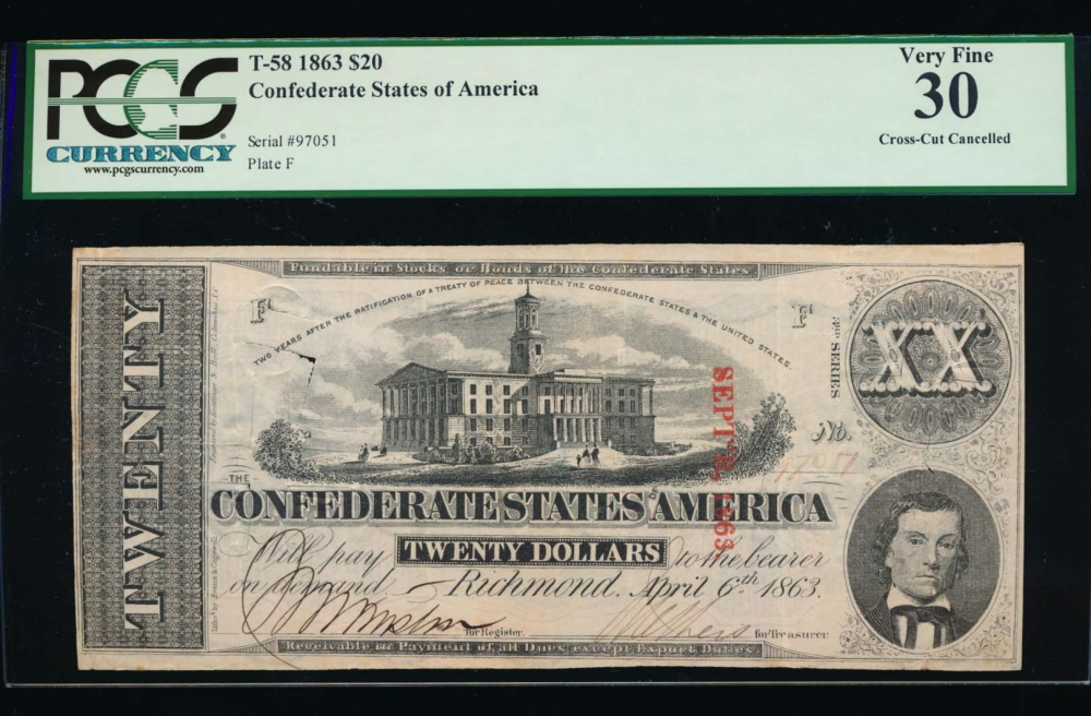 Fr. T-58 1863 $20  Confederate cross-cut cancelled PCGS 30 97051