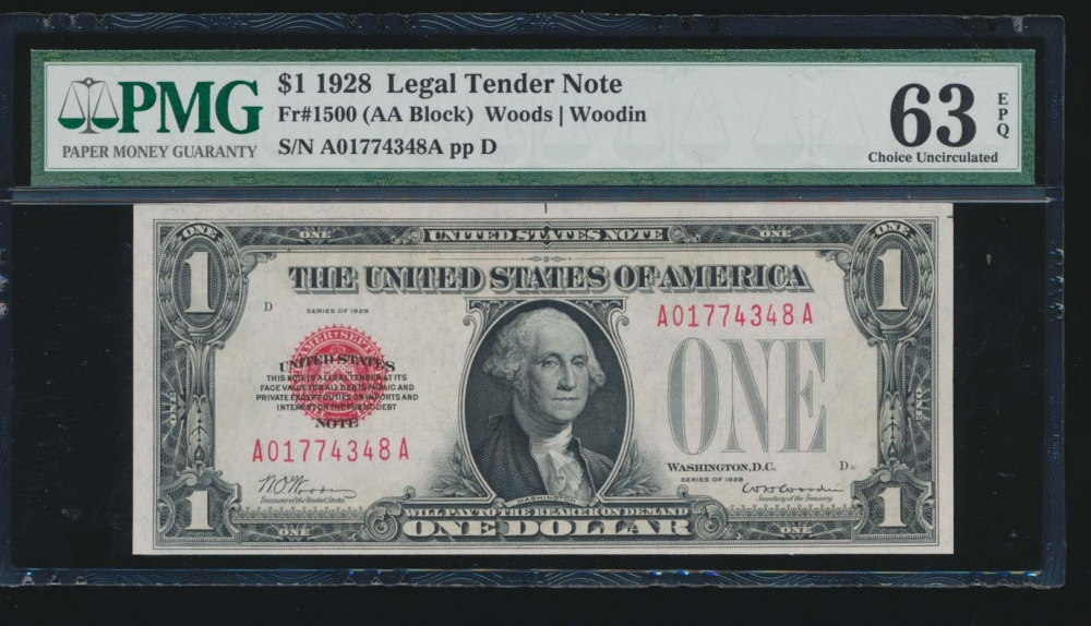 Fr. 1500 1928 $1  Legal Tender  PMG 63EPQ A01774348A