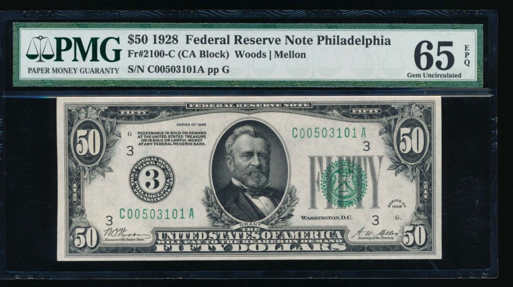 Fr. 2100-C 1918 $50  Federal Reserve Note Philadelphia PMG 65EPQ C00503101A