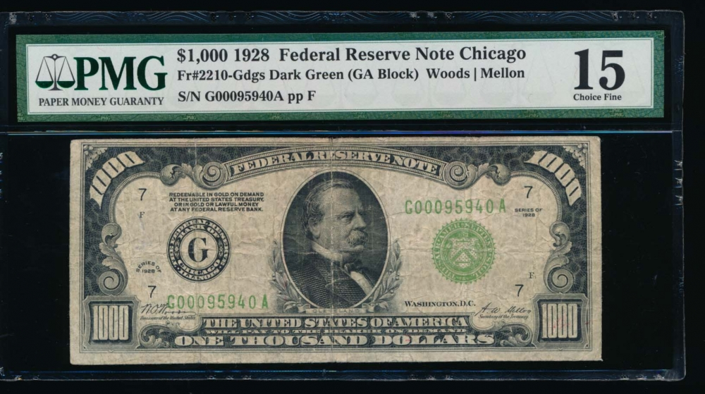 Fr. 2210-G 1928 $1,000  Federal Reserve Note Chicago PMG 15 G00095940A