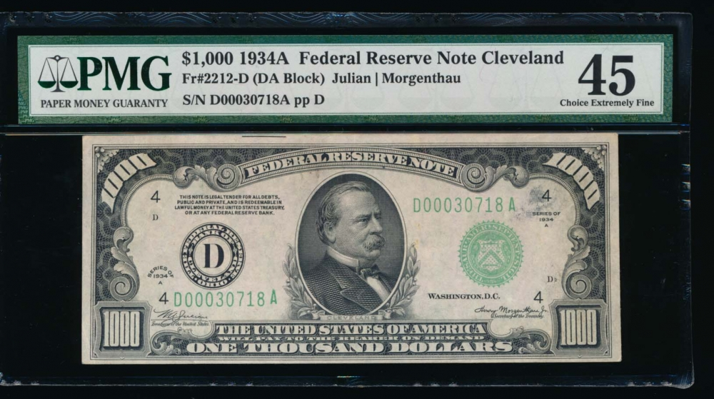Fr. 2212-D 1934A $1,000  Federal Reserve Note Cleveland PMG 45 D00030718A