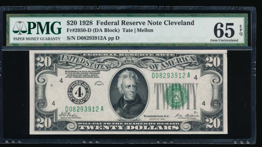 Fr. 2050-D 1928 $20  Federal Reserve Note Cleveland PMG 65EPQ D08293912A
