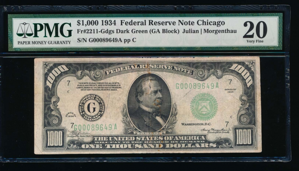 Fr. 2211-G 1934 $1,000  Federal Reserve Note Chicago PMG 20 comment G00089649A