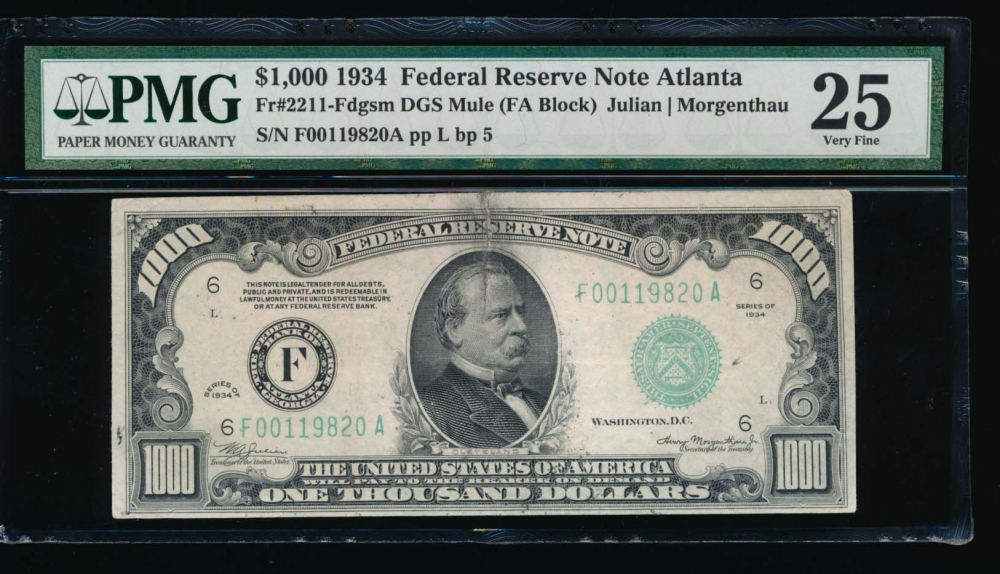 Fr. 2211-F 1934 $1,000  Federal Reserve Note Atlanta PMG 25 comment F00119820A obverse