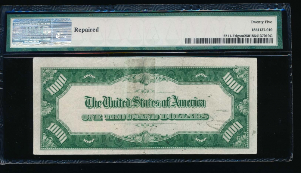 Fr. 2211-F 1934 $1,000  Federal Reserve Note Atlanta PMG 25 comment F00119820A reverse