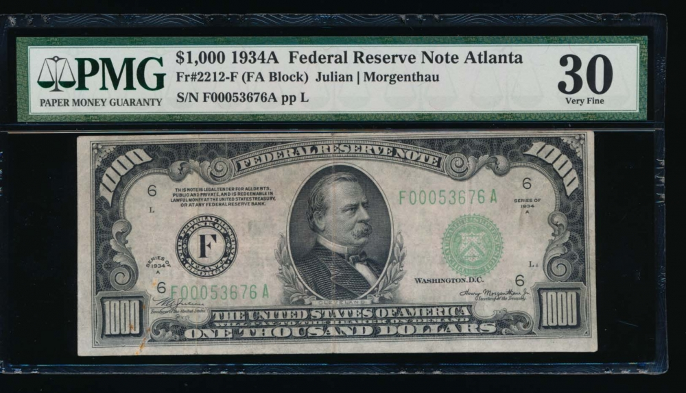 Fr. 2212-F 1934A $1,000  Federal Reserve Note Atlanta PMG 30 comment F00053676A