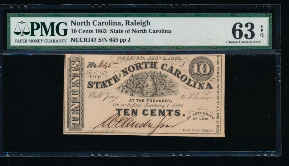 Fr. Cr NC-147 1863 $0.10  Obsolete State of North Carolina, Raleigh PMG 63EPQ 645J obverse
