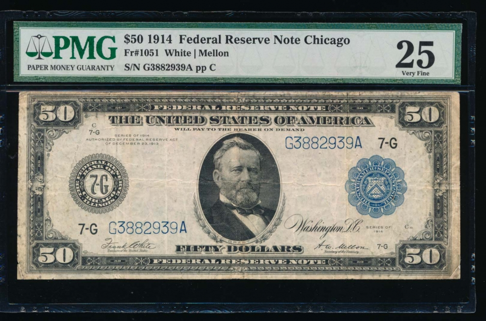 Fr. 1051 1914 $50  Federal Reserve Note Chicago PMG 25 G3882939A