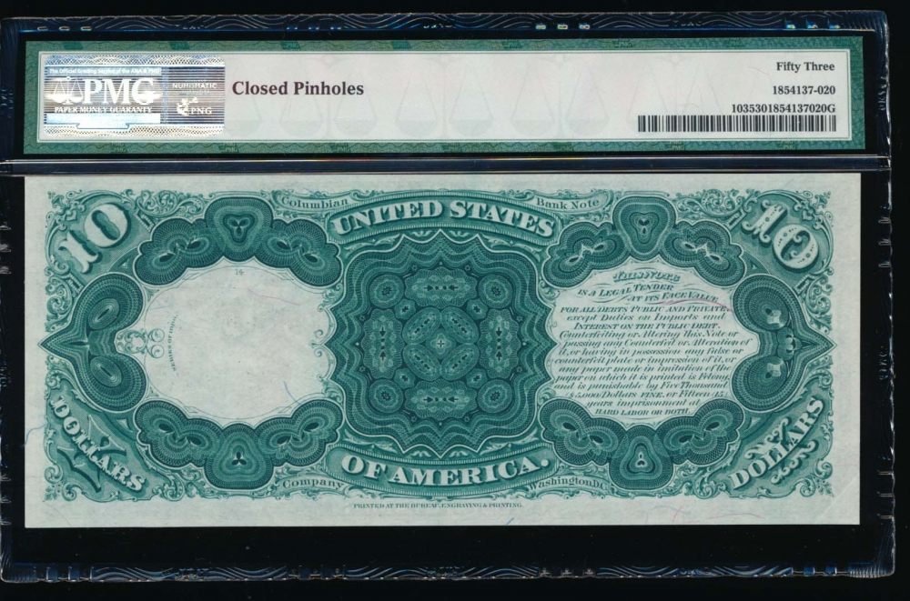 Fr. 103 1880 $10  Legal Tender  PMG 53 comment A289347 reverse