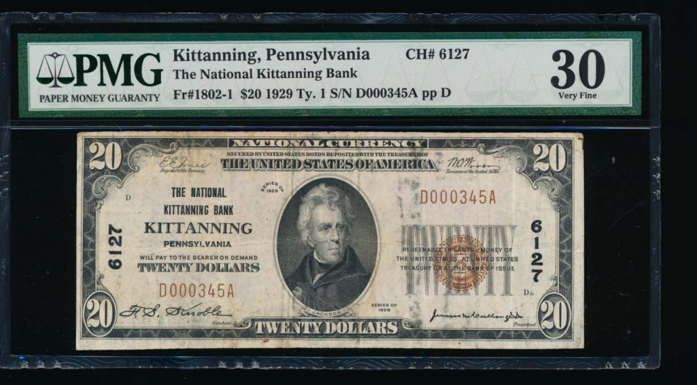 Fr. 1802-1 1929 $20  National: Type I Ch #6127 The National Kittanning Bank  Kitanning Pennsylvania PMG 30 comment D000345A