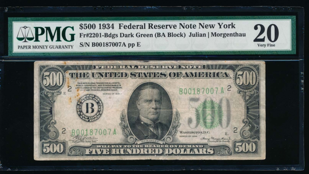 Fr. 2201-B 1934 $500  Federal Reserve Note New York PMG 20 comment B00187007A