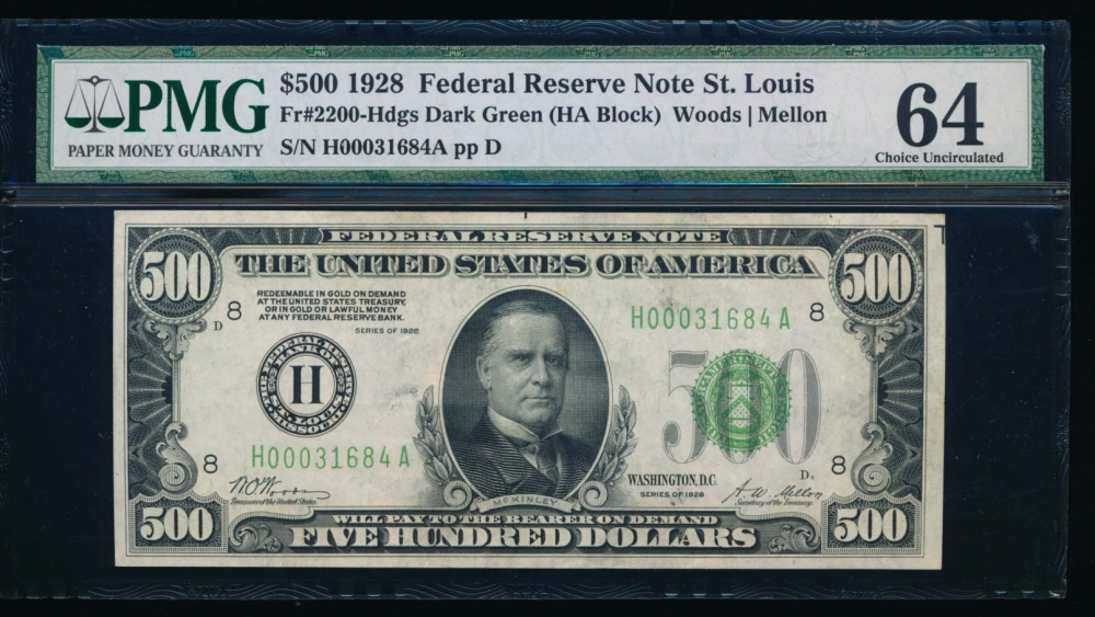 Fr. 2200-H 1928 $500  Federal Reserve Note Saint Louis PMG 64 H00031684A