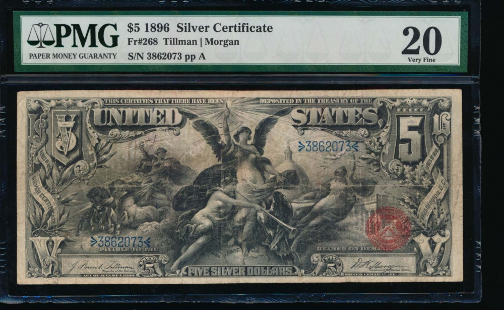Fr. 268 1896 $5  Silver Certificate  PMG 20 3862073