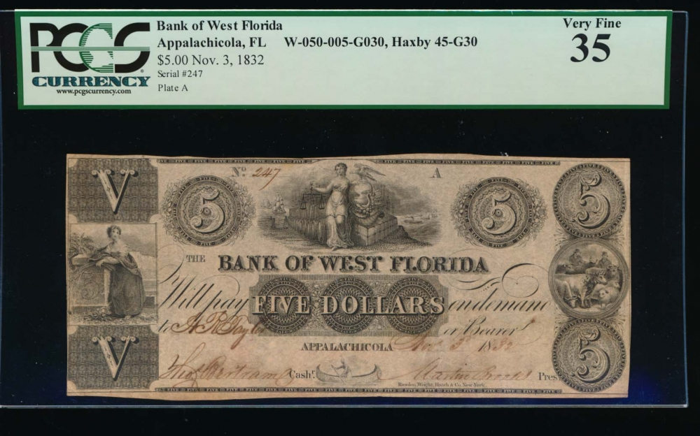 Fr. H FL-45 G3 1832 $5  Obsolete Bank of West Florida, Appalachicola, Florida PCGS 35 247