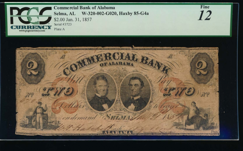 Fr. H AL-85 G4 1857 $2  Obsolete Commercial Bank of Alabama, Selma, Alabama PCGS 12 comment 3723