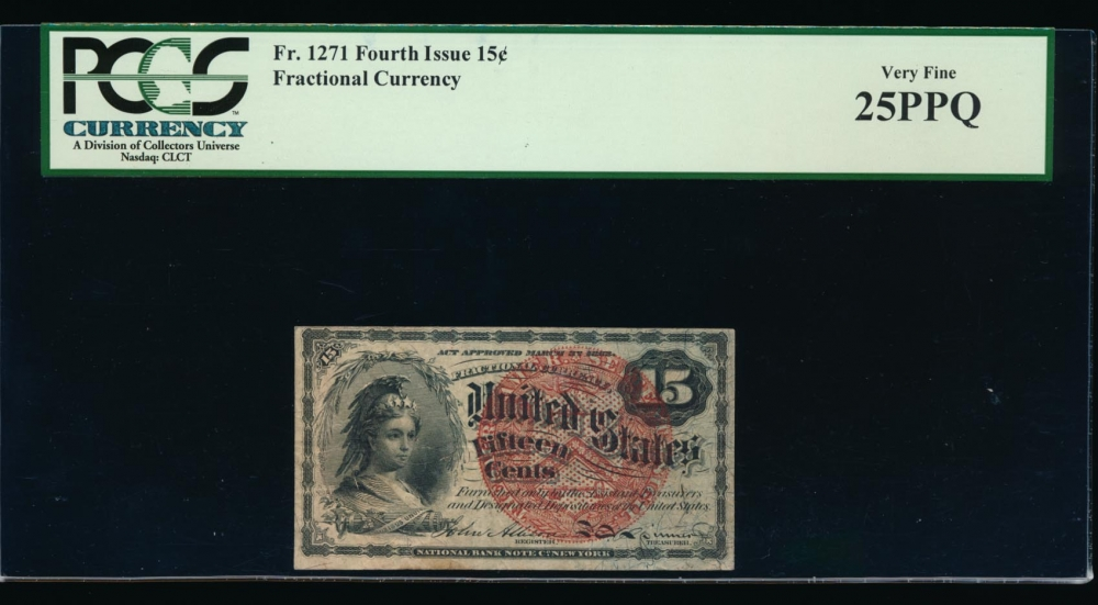 Fr. 1271  $0.15  Fractional Fourth Issue: Blue Right End, 38mm seal PCGS 25PPQ no serial number