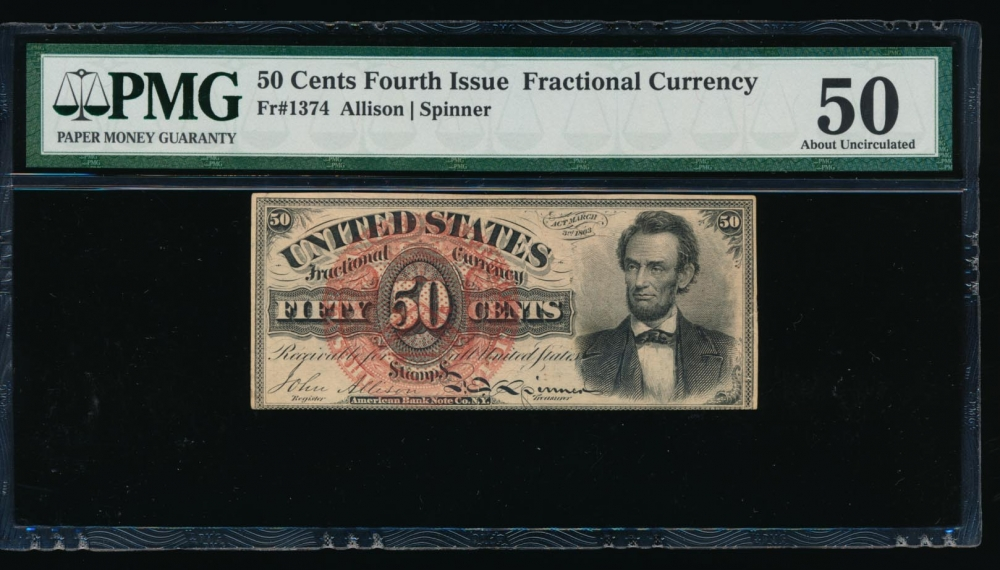 Fr. 1374 1864 $0.50  Fractional Fourth Issue: Lincoln PMG 50 no serial number