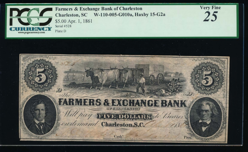 Fr. H SC-15 G2 1861 $5  Obsolete Farmers & Exchange Bank, Charleston, South Carolina PCGS 25 comment 528