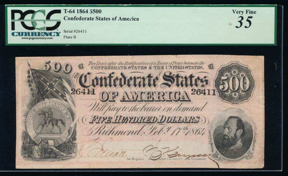 Fr. T-64 1864 $500  Confederate  PCGS 35 comment 26411