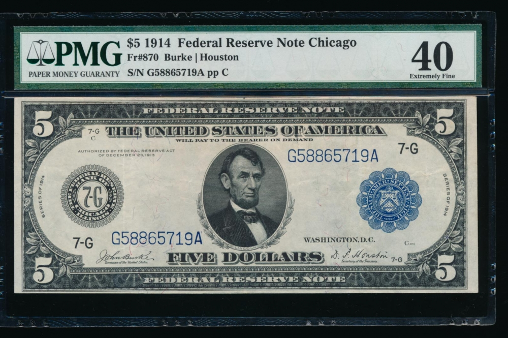 Fr. 870 1914 $5  Federal Reserve Note Chicago PMG 40 G58865719A