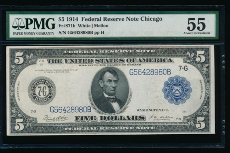 Fr. 871b 1914 $5  Federal Reserve Note Chicago PMG 55 G56428980B