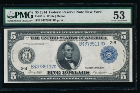 Fr. 851a 1914 $5  Federal Reserve Note New York PMG 53 B43785117D