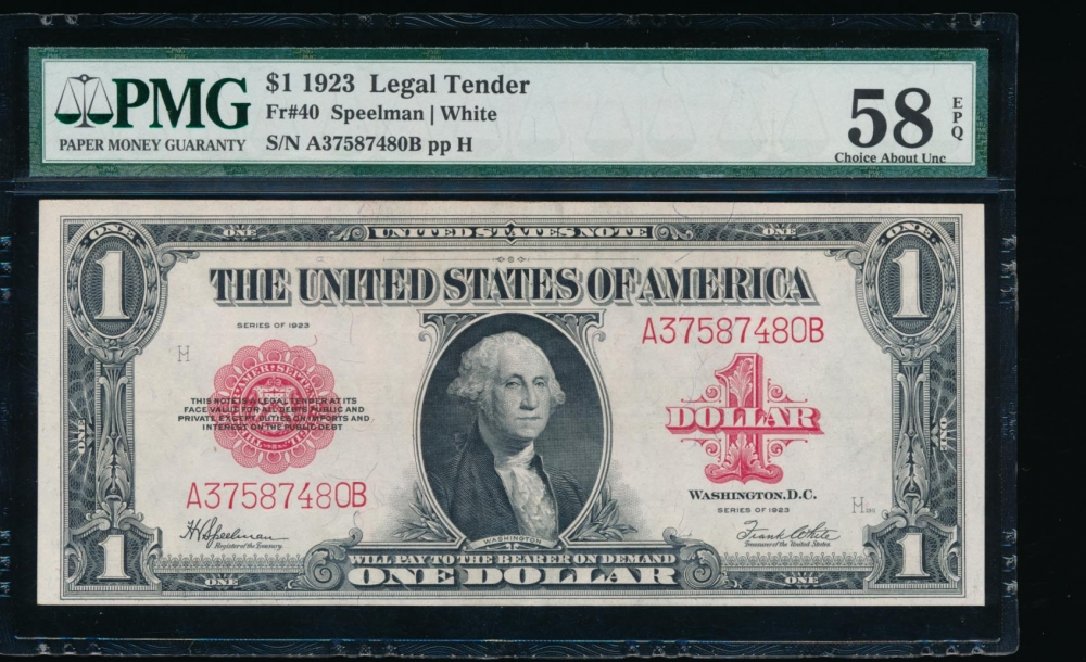 Fr. 40 1923 $1  Legal Tender  PMG 58EPQ A37587480B