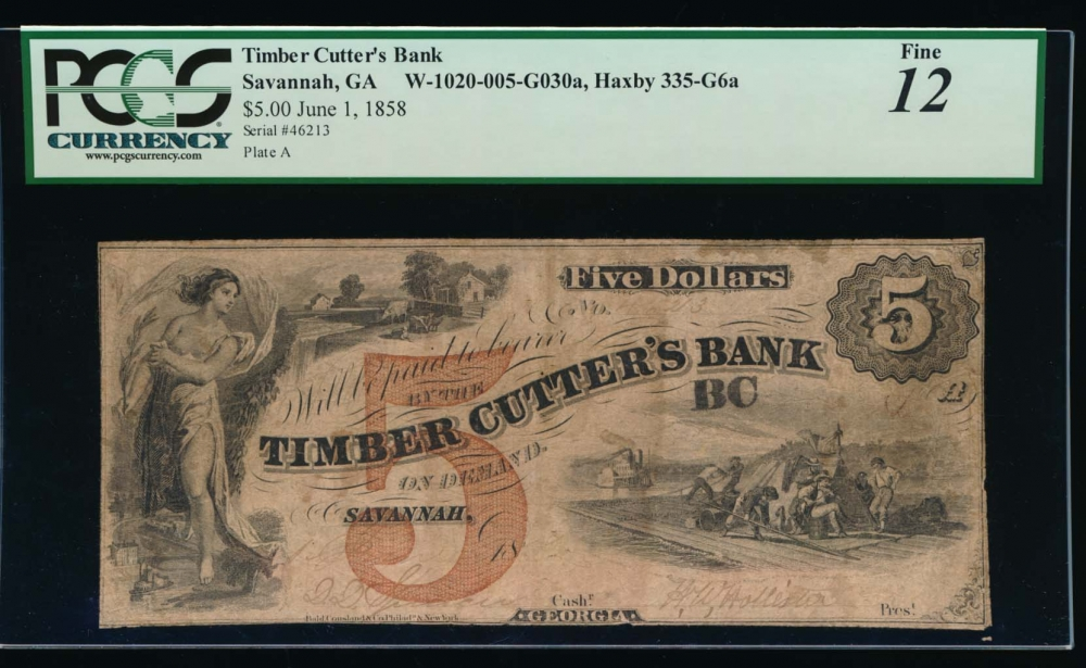 Fr. H GA-335 G 1800s $5  Obsolete Timber Cutters Bank, Savannah, Georgia PCGS 12 comment 46213
