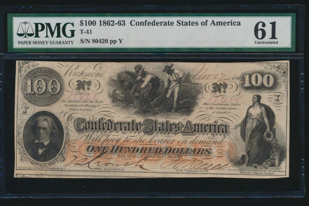Fr. T-41 1862 $100  Confederate  PMG 61 comment 80420